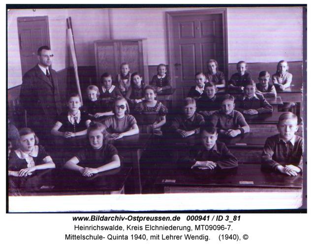 Heinrichswalde, Mittelschule- Quinta 1940, mit Lehrer Wendig