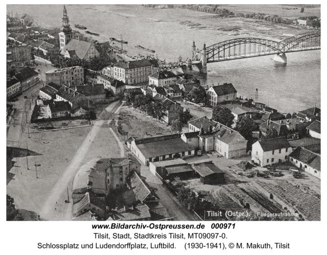Tilsit, Schlossplatz und Ludendorffplatz, Luftbild