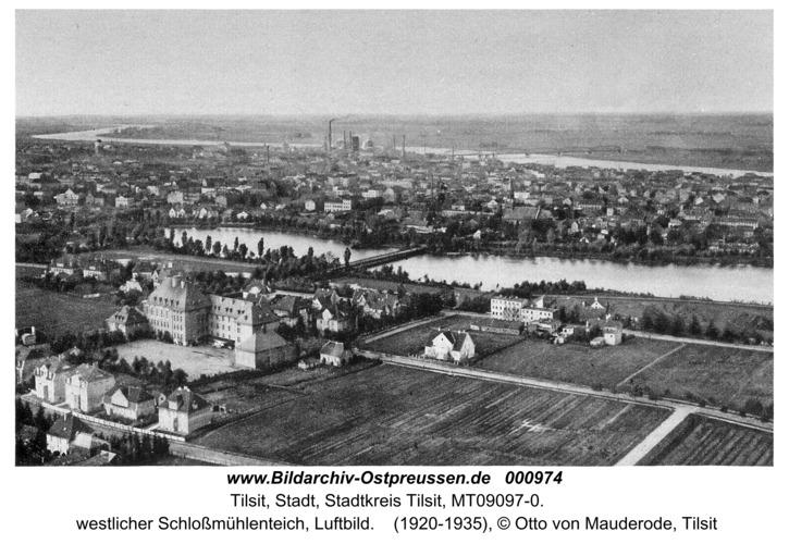 Tilsit, westlicher Schloßmühlenteich, Luftbild