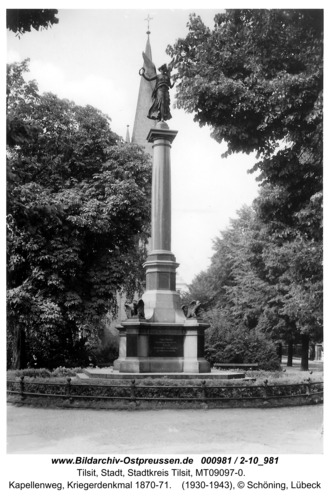Tilsit, Kapellenweg, Kriegerdenkmal 1870-71