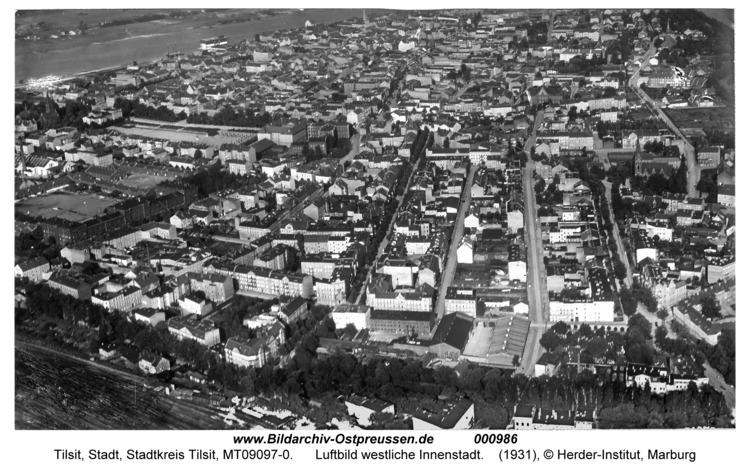Tilsit, Luftbild westliche Innenstadt