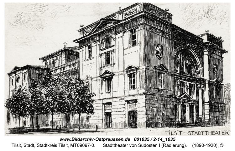 Tilsit, Stadttheater von Südosten I (Radierung)