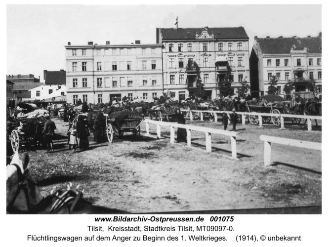 Tilsit, Flüchtlingswagen auf dem Anger zu Beginn des 1. Weltkrieges