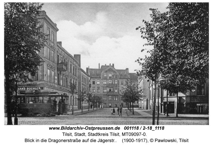 Tilsit, Blick von der Bahnhofstr. in die Dragonerstraße auf die Jägerstr.