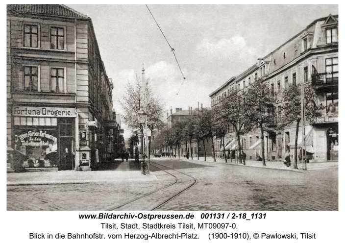 Tilsit, Blick in die Bahnhofstr. vom Herzog-Albrecht-Platz