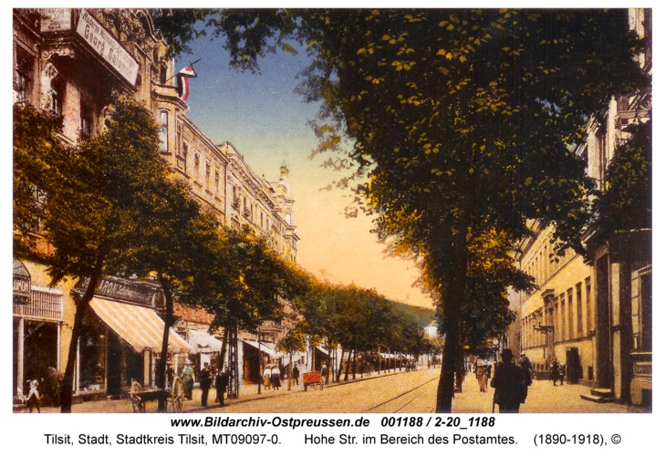 Tilsit, Hohe Str. im Bereich des Postamtes