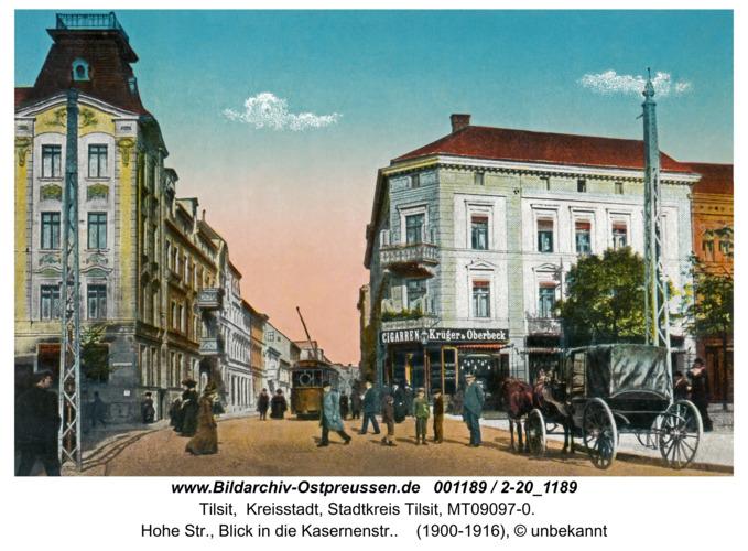 Tilsit, Hohe Str., Blick in die Kasernenstr.