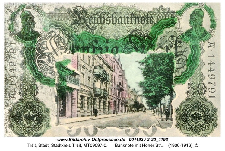 Tilsit, Banknote mit Hoher Str.