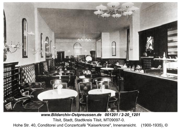 """Tilsit, Hohe Str. 40, Conditorei und Conzertcafé """"Kaiserkrone"""", Innenansicht"""