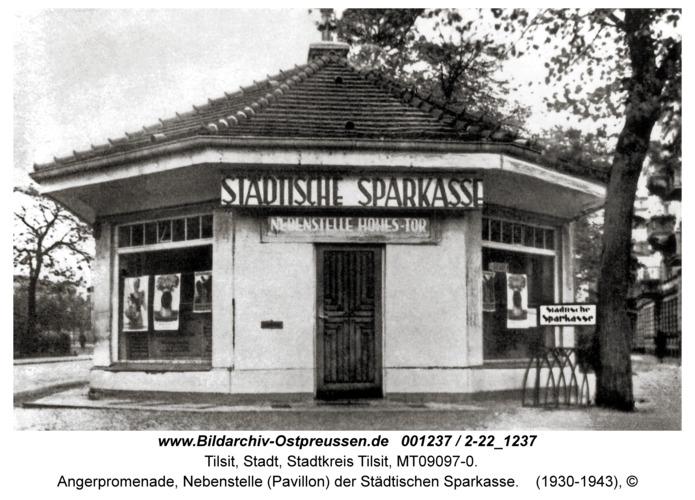 Tilsit, Angerpromenade, Nebenstelle (Pavillon) der Städtischen Sparkasse