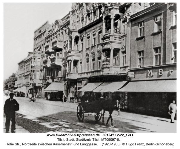 Tilsit, Hohe Str., Nordseite zwischen Kasernenstr. und Langgasse