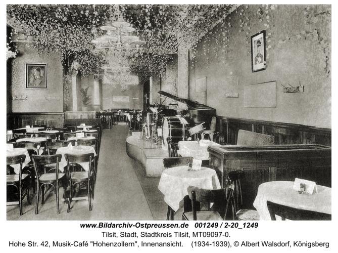 "Tilsit, Hohe Str. 42, Musik-Café ""Hohenzollern"", Innenansicht"