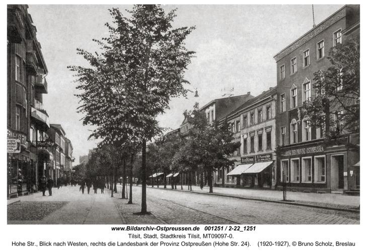 Tilsit, Hohe Str., Blick nach Westen, rechts die Landesbank der Provinz Ostpreußen (Hohe Str. 24)