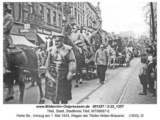 Tilsit, Hohe Str., Umzug am 1. Mai 1933, Wagen der Tilsiter Aktien-Brauerei