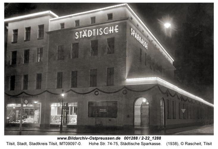 Tilsit, Hohe Str. 74-75, Städtische Sparkasse