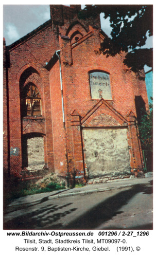 Tilsit, Rosenstr. 9, Baptisten-Kirche, Giebel