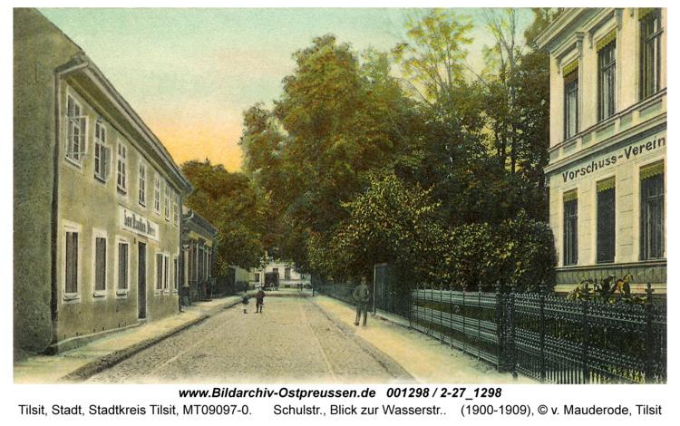 Tilsit, Schulstr., Blick zur Wasserstr.