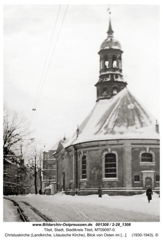 Tilsit, Christuskirche (Landkirche, Litauische Kirche), Blick von Osten im Winter