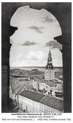 Tilsit, Blick vom Turm der Christuskirche (Landkirche, Litauische Kirche) Richtung Nordosten