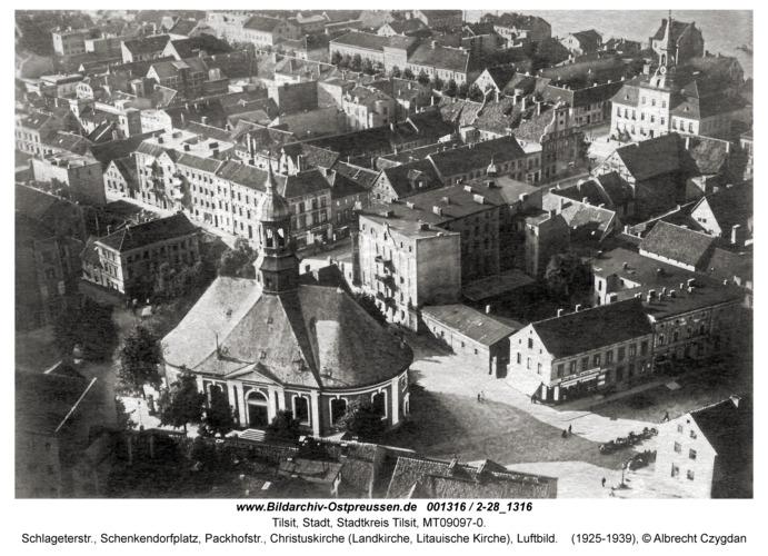 Tilsit, Schlageterstr., Schenkendorfplatz, Packhofstr., Christuskirche (Landkirche, Litauische Kirche), Luftbild