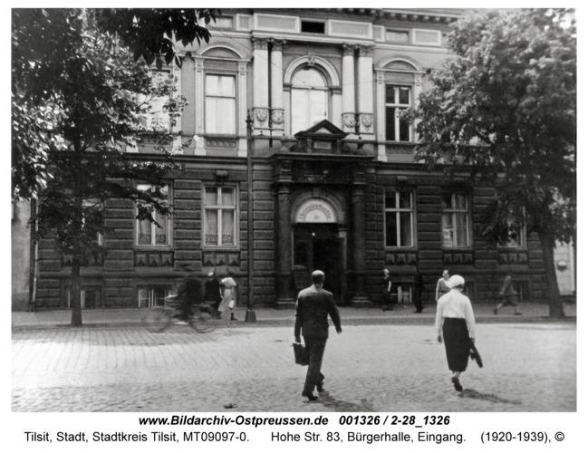 Tilsit, Hohe Str. 83, Bürgerhalle, Eingang