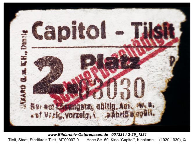 "Tilsit, Hohe Str. 60, Kino ""Capitol"", Kinokarte"