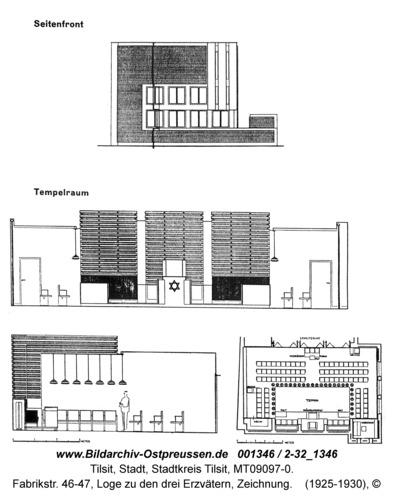 Tilsit, Fabrikstr. 46-47, Loge zu den drei Erzvätern, Zeichnung