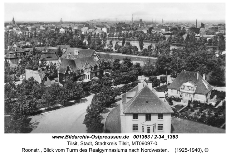Tilsit, Roonstr., Blick vom Turm des Realgymnasiums nach Nordwesten