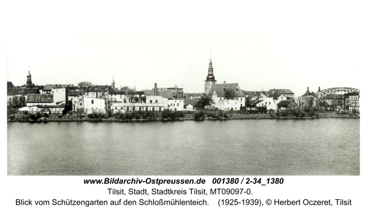Tilsit, Blick vom Schützengarten auf den Schloßmühlenteich
