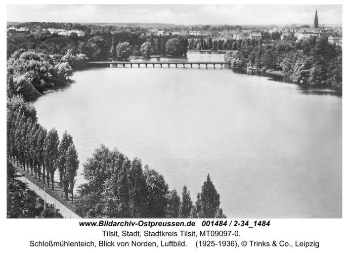 Tilsit, Schloßmühlenteich, Blick von Norden, Luftbild