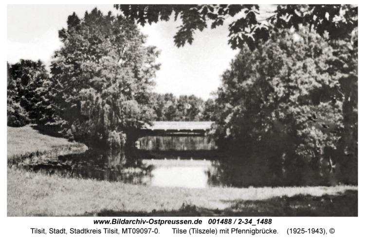 Tilsit, Tilse (Tilszele) mit Pfennigbrücke