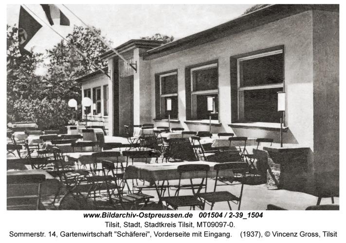 """Tilsit, Sommerstr. 14, Gartenwirtschaft """"Schäferei"""", Vorderseite mit Eingang"""