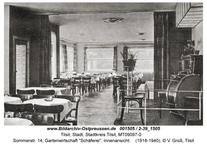 """Tilsit, Sommerstr. 14, Gartenwirtschaft """"Schäferei"""", Innenansicht"""