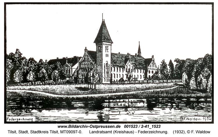 Tilsit, Landratsamt (Kreishaus) - Federzeichnung
