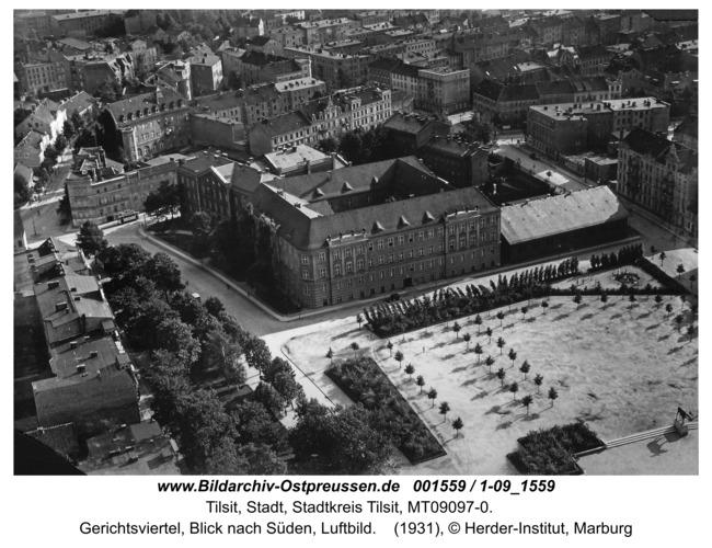Tilsit, Gerichtsviertel, Blick nach Süden, Luftbild