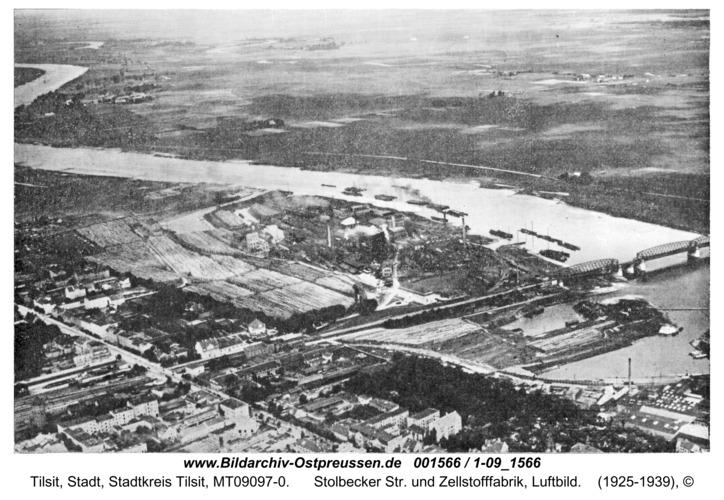 Tilsit, Stolbecker Str. und Zellstofffabrik, Luftbild