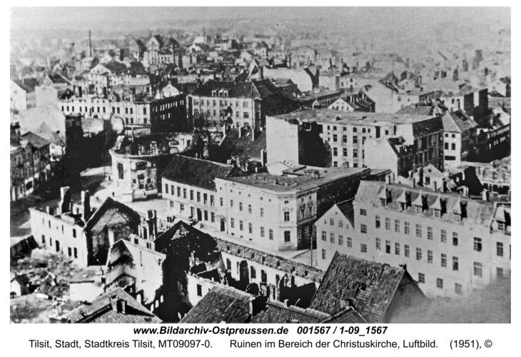Tilsit, Ruinen im Bereich der Christuskirche, Luftbild