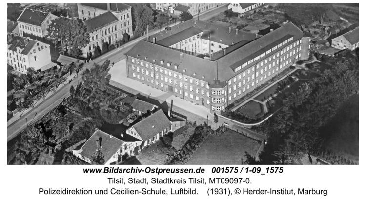 Tilsit, Polizeidirektion und Cecilien-Schule, Luftbild