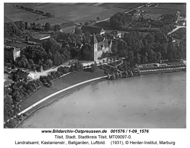 Tilsit, Landratsamt, Kastanienstr., Ballgarden, Luftbild