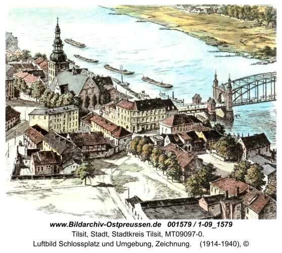 Tilsit, Luftbild Schlossplatz und Umgebung, Zeichnung