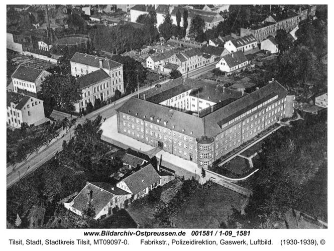 Tilsit, Fabrikstr., Polizeidirektion, Gaswerk, Luftbild