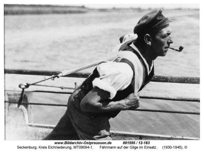 Seckenburg, Fährmann auf der Gilge im Einsatz