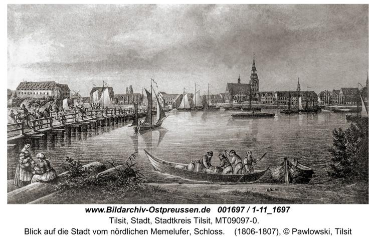 Tilsit, Blick auf die Stadt vom nördlichen Memelufer, Schloss