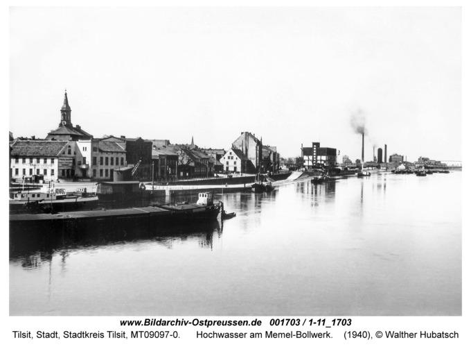 Tilsit, Hochwasser am Memel-Kai