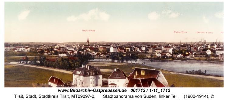Tilsit, Stadtpanorama von Süden, linker Teil