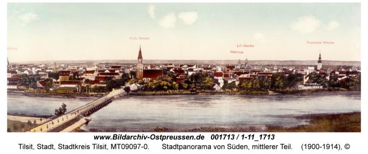 Tilsit, Stadtpanorama von Süden, mittlerer Teil
