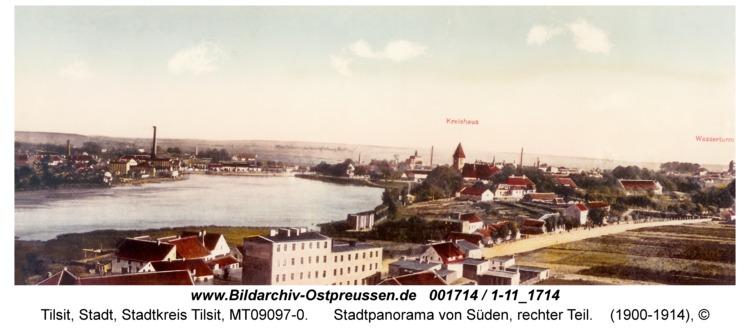 Tilsit, Stadtpanorama von Süden, rechter Teil