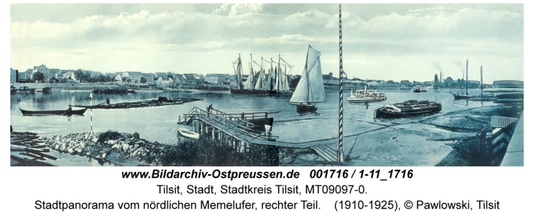 Tilsit, Stadtpanorama vom nördlichen Memelufer, rechter Teil