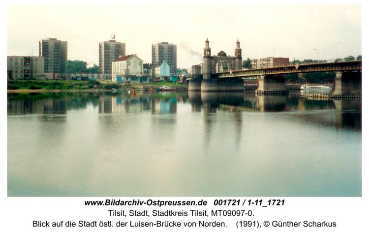 Tilsit, Blick auf die Stadt östl. der Luisen-Brücke von Norden