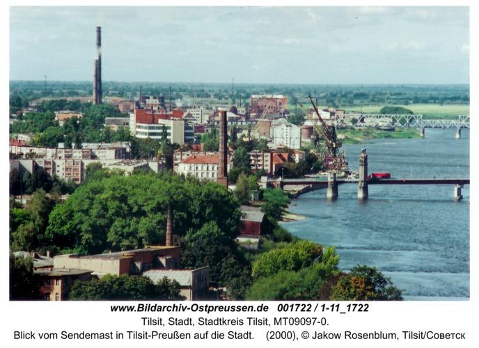 Tilsit, Blick vom Sendemast in Tilsit-Preußen auf die Stadt